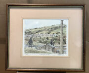 Framed Drawing South Wales Valley Signed 490/850