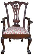 Vintage Chippendale Style Mahogany Childs Doll Accent Chair Ball And Claw Floral