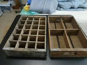 Vintage Wooden Soda Crates Pepsi With Dividers - Two Boxes