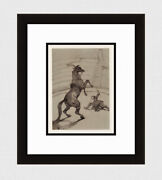 Toulouse Lautrec 1952 Limited Color Lithograph Rearing Horse Signed Framed Coa