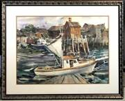 Original Betty Lou Schlemm Watercolor - An Extensive View Of Rockport Harbor