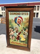 1908 Country Store Diamond Dyes Balloon Store Spool Cabinet 24x15x9 Sign Vtg