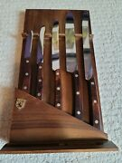 Kutmaster Tungsten Stainless Steel Vintage Five Knife Set And Wood Display Case