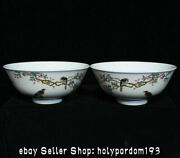 6 Qianlong Marked Chinese Famille Rose Porcelain Flower Birds Bowl Bowls Pair