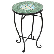 Mosaic Stained Glass Flower Stand Three Patterns Garden Patio Decro Accent Table