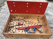 Vintage Box Lot Of Classic Wooden Pieces Bilofix By Lego 1950s 1960s Old And Rare
