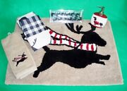 5 Pc Dachshund Christmas Holiday Bath Set - Mat, Shower Curtain, Hooks And More