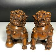Old Boxwood Carved Pair Amass Fortunes Lion Japanese Netsuke Collectible Statue