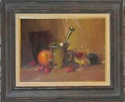 Important Herbert E. Abrams Oil Still Life With Pewter Cup, Fruit And Wine Glass