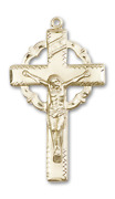 Bliss Crown Of Thorns 1 5/8 X 7/8 Inch 14kt Gold Crucifix Cross Necklace