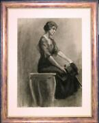 Large Framed Antique Charcoal Drawing Of A Seated Woman By John Andrew