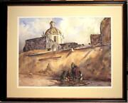 Original Betty Lou Schlemm Watercolor Figures By A Church In Mexico