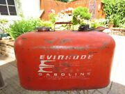 Evinrude Johnson Red Outboard 6 Gallon Remote Metal Gas Tank Fuel Can 5 Imperial