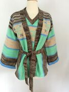 1970's Vintage Southwestern Indian Wrap Bell Sleeve Sweater And Vest Space Dye S