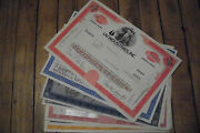 100 Mixed United States Old Paper Stocks And Bonds Certificates Used And Unused
