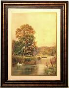 Large Watercolor Attributed To George Gordon Byron Cooper Swan Lake