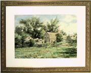 Large Henry Newell Cady Watercolor Shooing Chickens By A New England Cottage