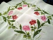 Glorious Fairistytch Roses And Lily-of-the-valley Raised Hand Embroidered T/cloth