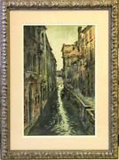 Large W/c By National Academician Henry Martin Gasser Andndash A Back Canal In Venice
