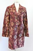 Cabi Jacobean Burgundy Floral Brocade Tapestry Trench Coat Long Jacket Size 14