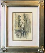 Original Mixed Media Florence Italy Street Scene By George Hand Wright Na
