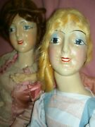 Very Rare Antique Compo. Smiling Boudoir Bed Doll Turning Head And Orig. Costume