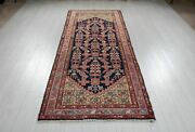 Vintage Runner Rug Navy Blue 9and039 11 X 3and039 5 Antique Hallway Wool Carpet 10and039 Long
