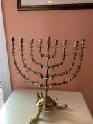 Vintage Antique Judaica Menorah Large Solid Brass 9 Branch Candle Holder 17andrdquox20andrdquo