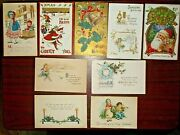 9 Vintage Antique Christmas And New Years Postcards Early 1900s
