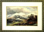 Large Original Watercolor By James Faed A View Of The Galloway Moors