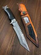 Portable Tactical Knife With Wild Wolf Shape Steel Head And Ebony Handle Camping