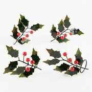 Set Of 4 Christmas Holly Cloisonné Napkin Rings By Williams Sonoma 1