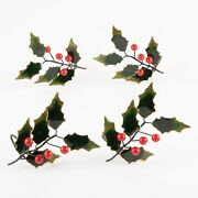 Set Of 4 Christmas Holly Cloisonné Napkin Rings By Williams Sonoma 2