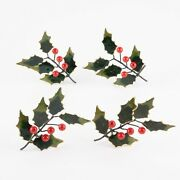 Set Of 4 Christmas Holly Cloisonné Napkin Rings By Williams Sonoma 3