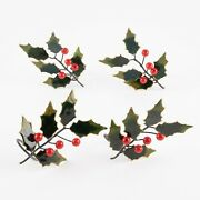 Set Of 4 Christmas Holly Cloisonné Napkin Rings By Williams Sonoma 4