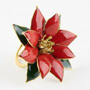 Set Of 4 Holiday Poinsettia Cloisonnandeacute Napkin Rings By Williams Sonoma New In Box