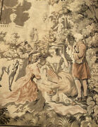 Vintage Tapestry Victorian Picnic Greyhound Scene Made In France 54andrdquox 37andrdquo