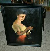 Vintage Beautiful Translucent Portrait Of Young Lady With Candle Painting