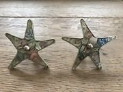 Gorgeous Pair Los Castillo Abalone Mother Of Pearl Sea Star Drawer Pulls