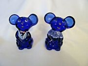 Fenton 2002 Special Order Nfgs Cobalt Blue Boy And Girl Mice Set 85 Out Of 100
