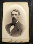 Antique Photograph Cabinet Card Handsome Man Mustache Beard Embossed