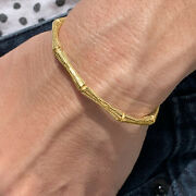 18 Kt Stamped Real Solid Yellow Gold Bamboo Torque Cuff Women's Bangle Bracelet