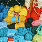 Bulk Lot Yarn Thread Crochet Knitting 50+ And Accessories Vintage Various Color