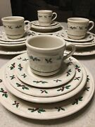 20 Pc Longaberger Pottery Christmas Traditional Holly Dinnerware Set Made In Usa