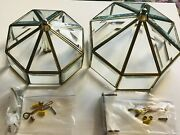 2 Vtg Ceiling Light Fixtures Polish Brass W/ Mounting Parts In Boxes. 2 Sizes.