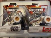 2021 Monster Jam Gears And Galaxies Earth Shaker And Son-uva Digger Rare Lot Of 2
