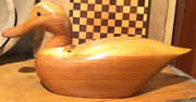 Vintage Large Duck Decoy Carving Unpainted Wooden - Glass Eyes 15 1/2