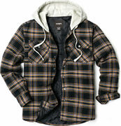 Cqr Mens Long Sleeve Hooded Quilted Lined Flannel Plaid Button Up Shirt Jackets