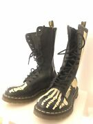 Dr. Martens Skelly Glow-in-the-dark Boots Rare Uk 37 Eu/6 Us Rarely Worn