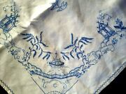 Exquisite Blue Willow Vintage Hand Embroidered Large Tablecloth 49.5 Sq